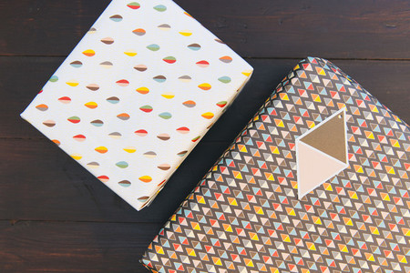 Birthday present gift box wood table background