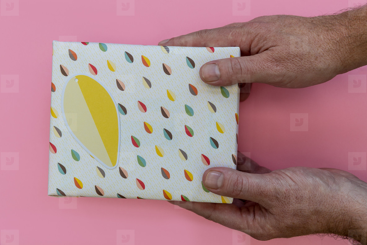 Hands giving birthday present gift box pink background