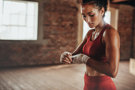 Athlete getting ready for boxing exercise