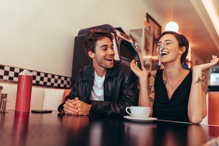 Couple having fun at a restaurant