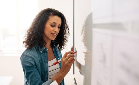 Businesswoman writing on whiteboard in office