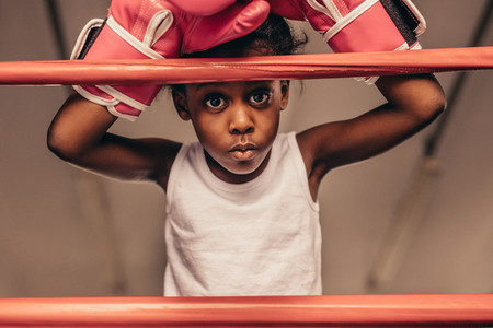 Close up of kid boxer