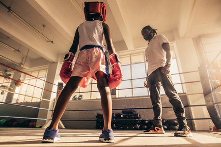 Rear view of a boxing kid standing inside a boxing ring with his