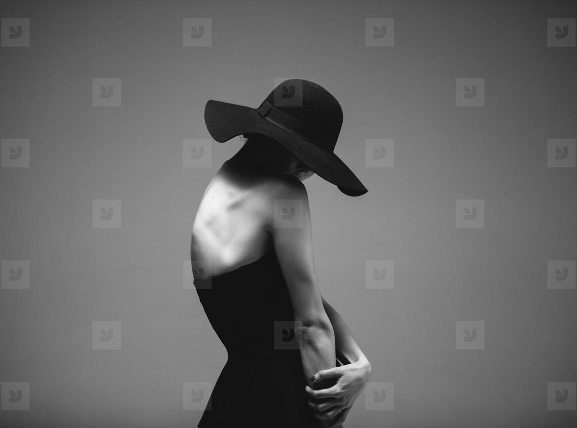 Vintage portrait of sensual woman in black