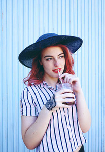 Young redhead and retro woman