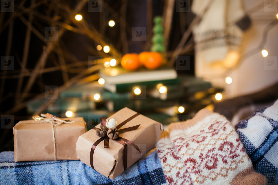 Beautiful themed gifts lie on vintage chair