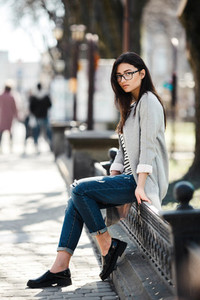 Beautiful model in glasses sit on the fence