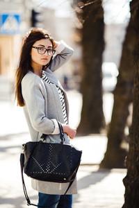 Beautiful model walks in europian city