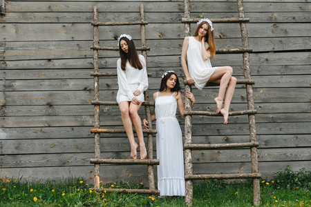 Three charming girls on a ladder near a wooden house