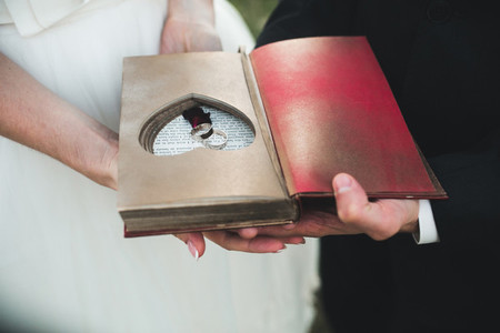 Charming vintage book with handmade heart in which lie the ring