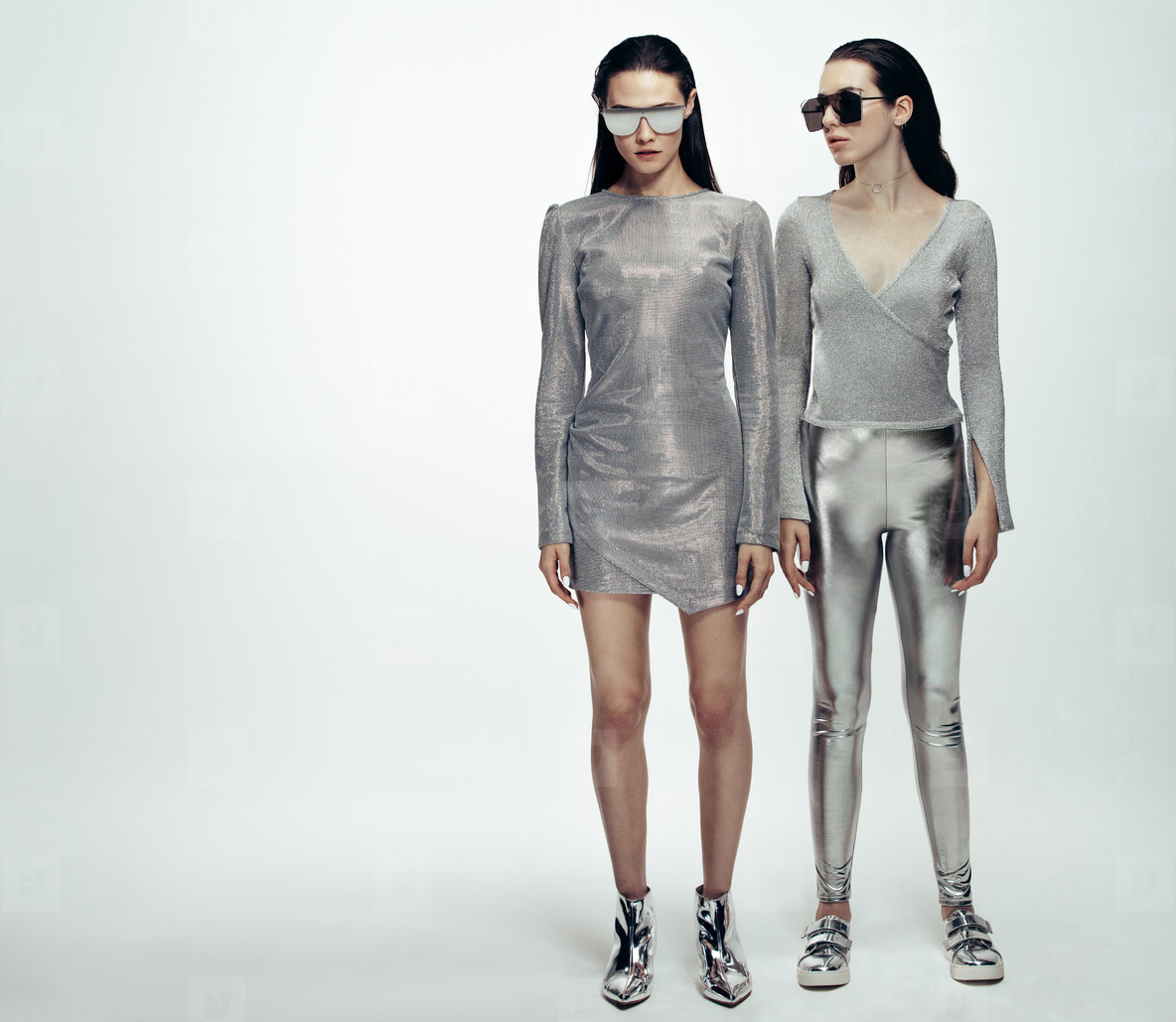 Female models in sliver and steel look