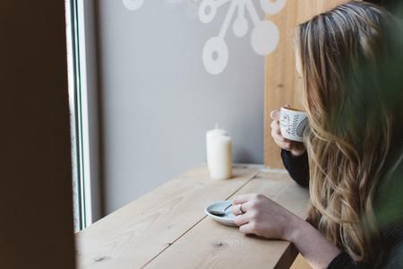 Girl drinking espresso
