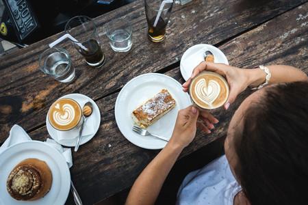 Girl treating great coffee