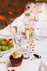 Glass of champagne wedding party
