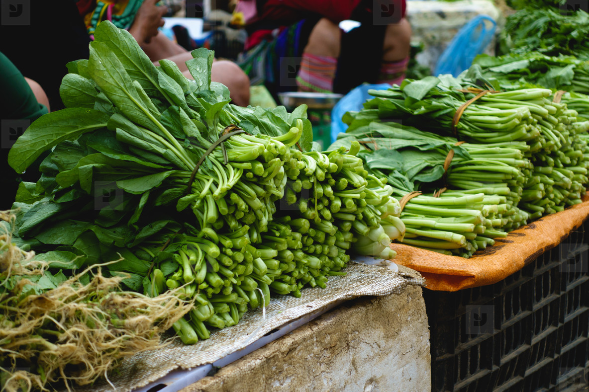 Green spinach leaves at market