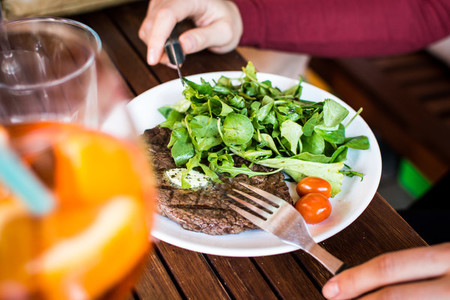 Grilled beef steak and salad