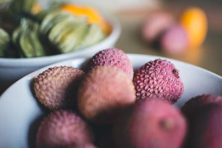 Litchi balls in bowl