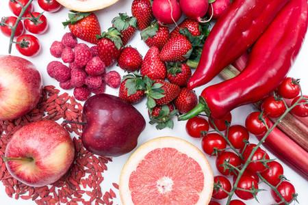 Aerial vibrant shot of red fruit