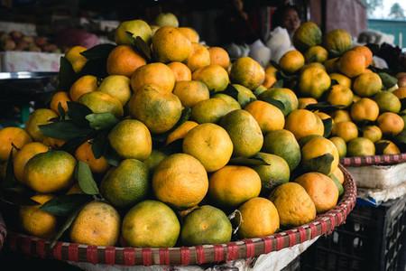 Basket of juicy tangerines