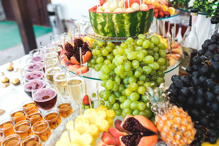 rich buffet  whiskey  bourbon  champagne  wine and fruit