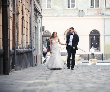 Beautiful couple walking on the European city