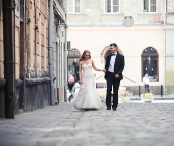 Beautiful couple walking on the European city