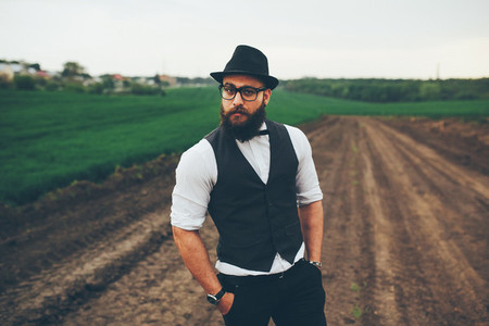 man with beard on the field