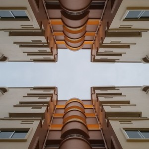 Look up the top building