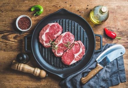 Ingredients for cooking Rib eye roast beef steak in pan