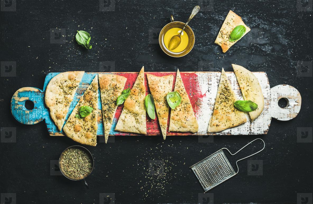 Homemade Italian focaccia flatbread
