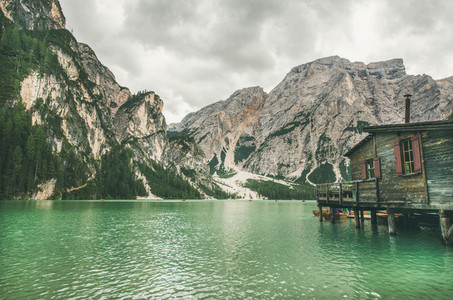 Lago di Braies in Fanes Sennes Braies Nature Park Italy