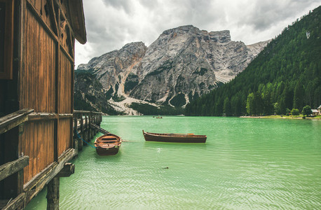 Mountain Lake in Valle di Braies in the Dolomite Alps