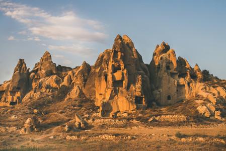 Natural volcanic rocks at sunset  Cappadocia  Turkey