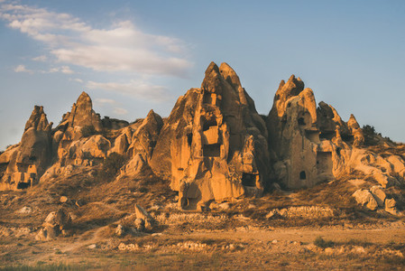 Natural volcanic rocks at sunset  Cappadocia  Turkey