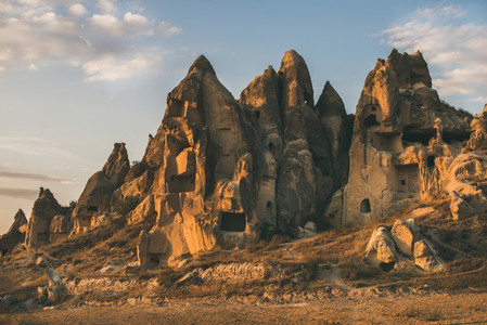 Natural volcanic rocks with ancient cave houses  Cappadocia  Turkey