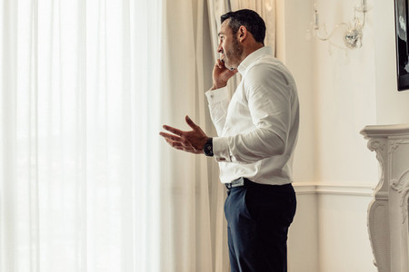 CEO having an important discussing over phone