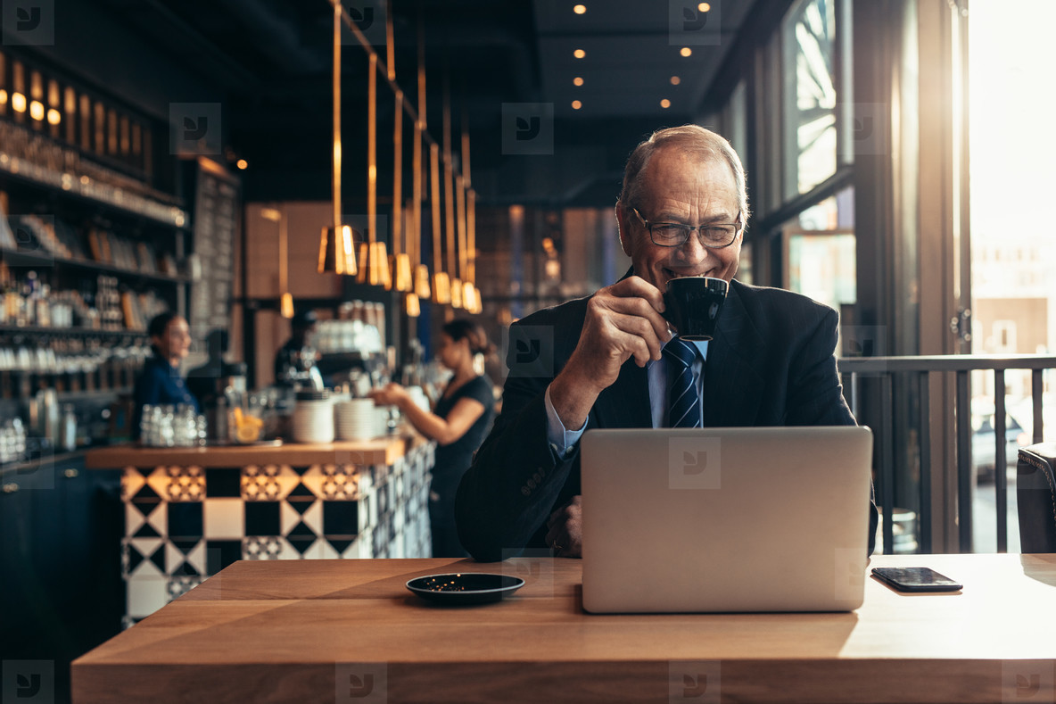 Male entrepreneur at coffee shop