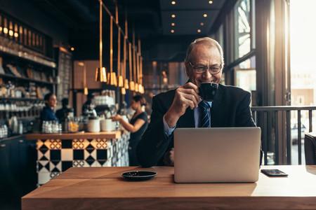 Male entrepreneur at coffee shop
