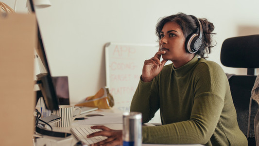 Woman working in tech startup