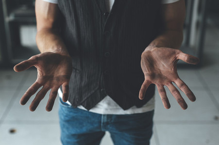 Close up of bboy breakdancer dirty hands