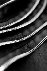 Black Zippers Closeup