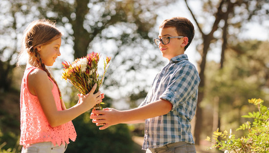 Boy proposing to his girlfriend with a bunch of flowers