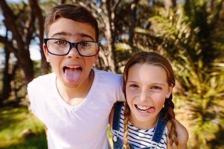 Portrait of kids making faces