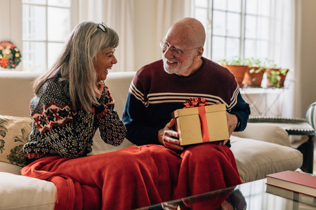 Senior couple sitting at home with a christmas present