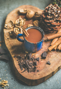 Rich winter hot chocolate with cinnamon and walnuts
