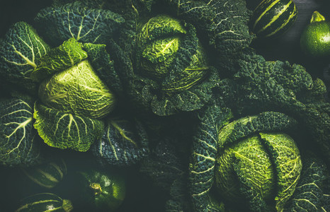 Raw fresh green cabbage texture and background top view
