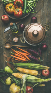 Autumn healthy ingredients for Thanksgiving day dinner preparation  flat lay