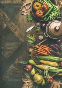 Fall healthy cooking background  copy space