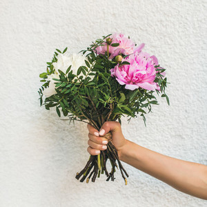 Bouquet of pink and white peony flowers