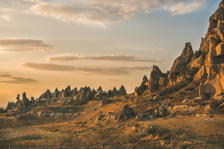 Natural volcanic rocks with ancient cave houses in Cappadocia  Turkey